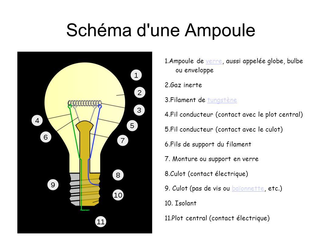 Schéma d une Ampoule 1.Ampoule de verre, aussi appelée globe, bulbe ou enveloppe. 2.Gaz inerte. 3.Filament de tungstène.