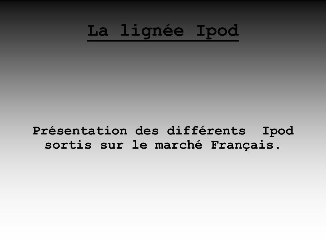 Présentation des différents Ipod sortis sur le marché Français.