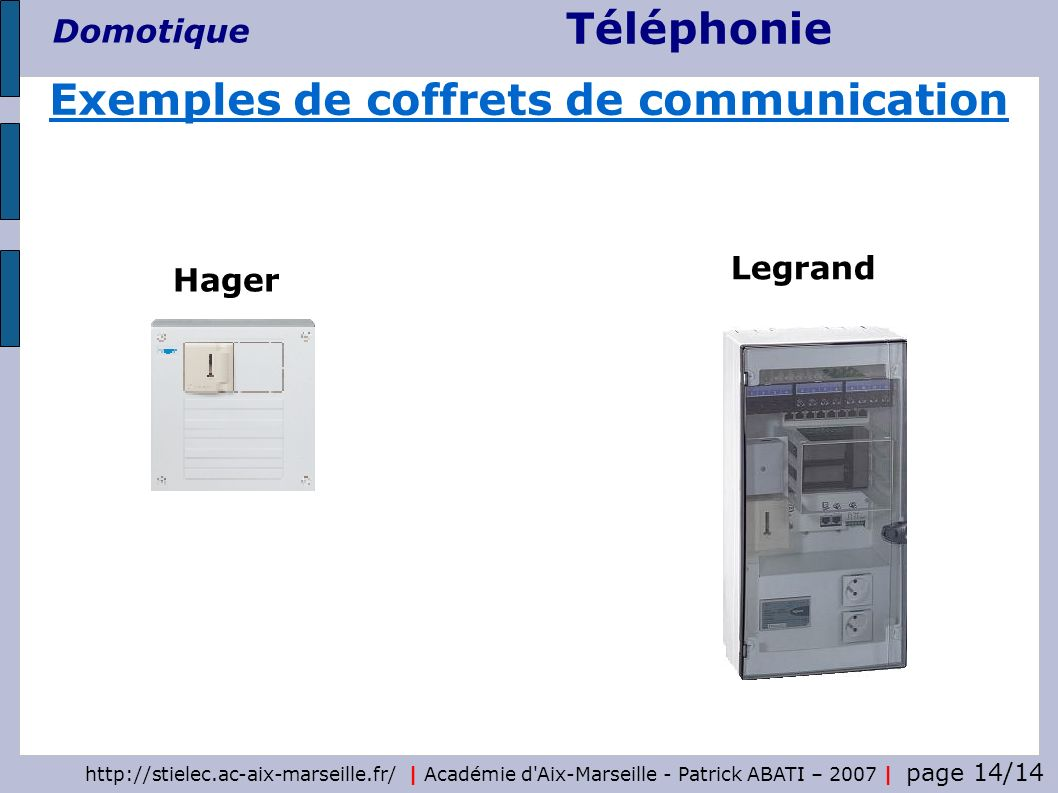Exemples de coffrets de communication