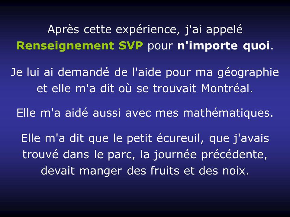 Après cette expérience, j ai appelé Renseignement SVP pour n importe quoi.