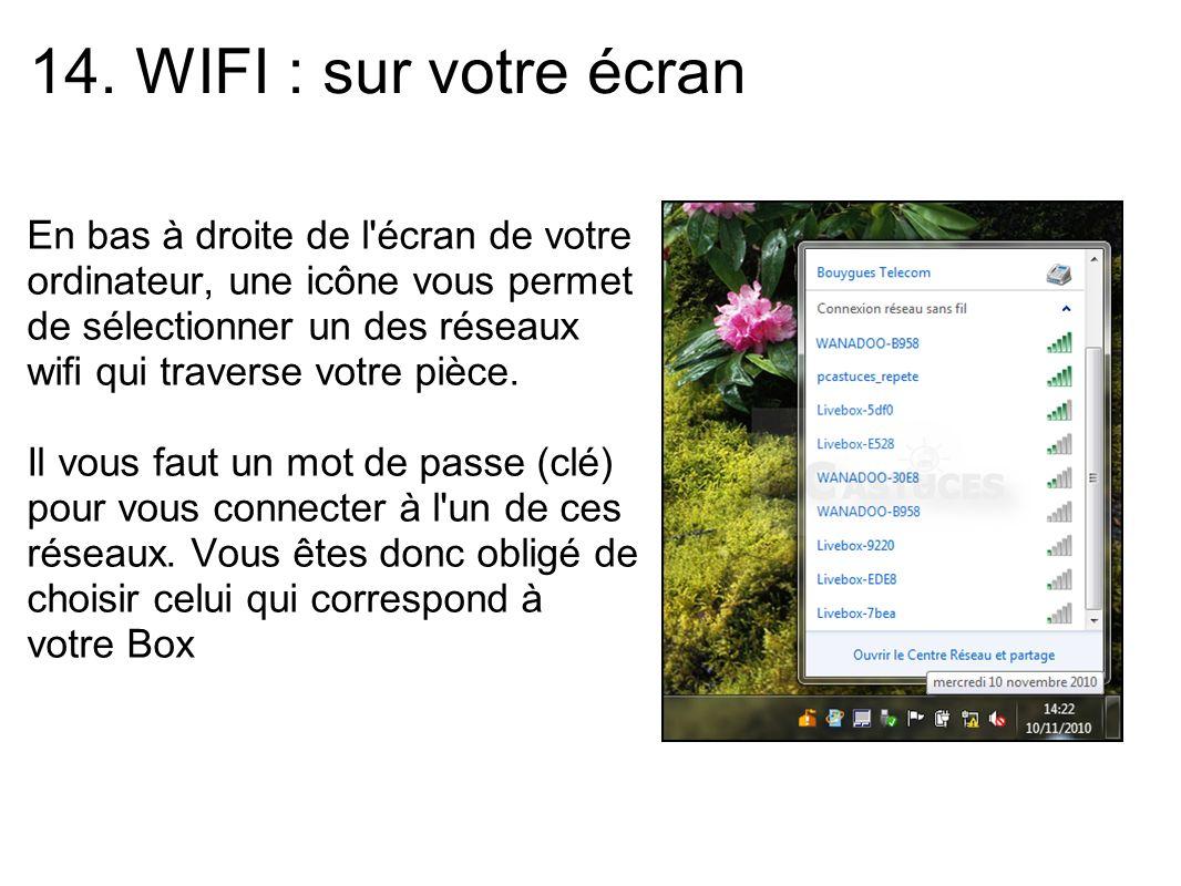 14. WIFI : sur votre écran
