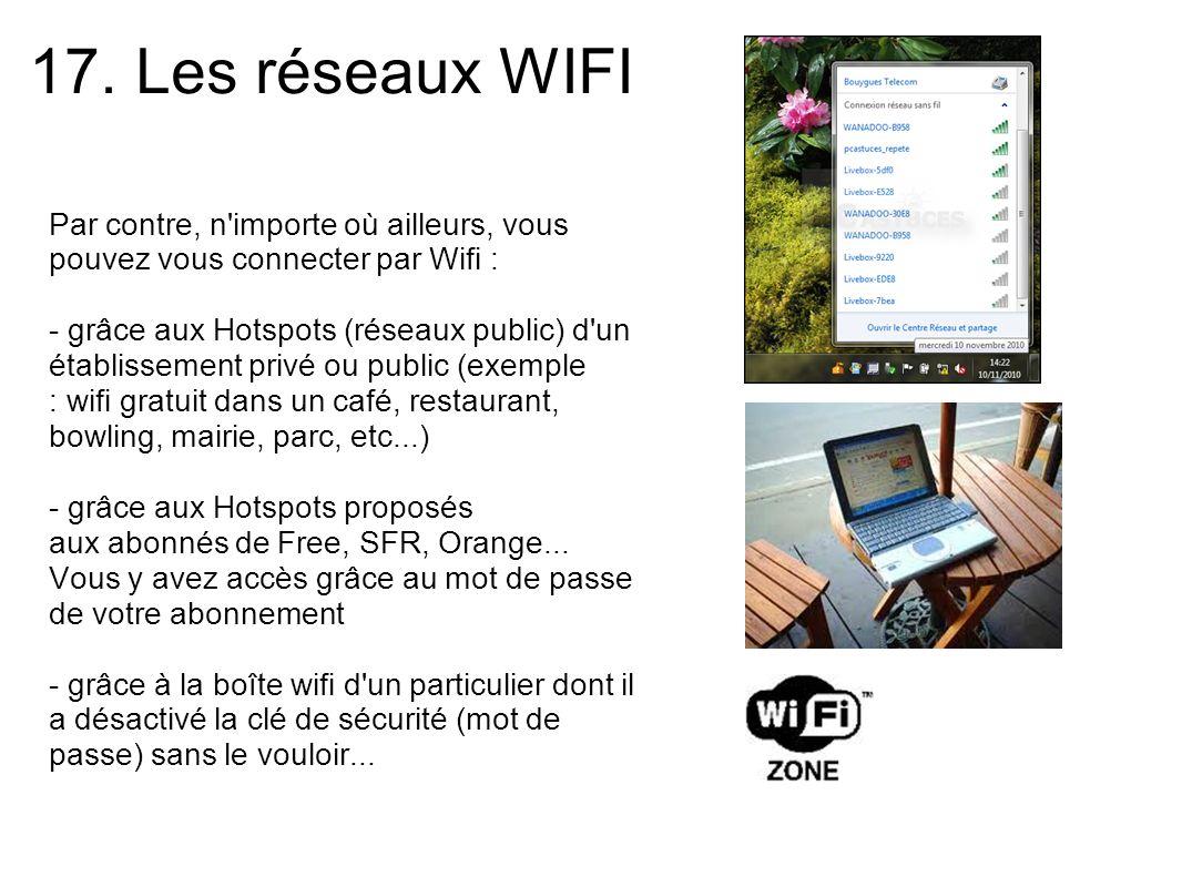 17. Les réseaux WIFI Par contre, n importe où ailleurs, vous pouvez vous connecter par Wifi :