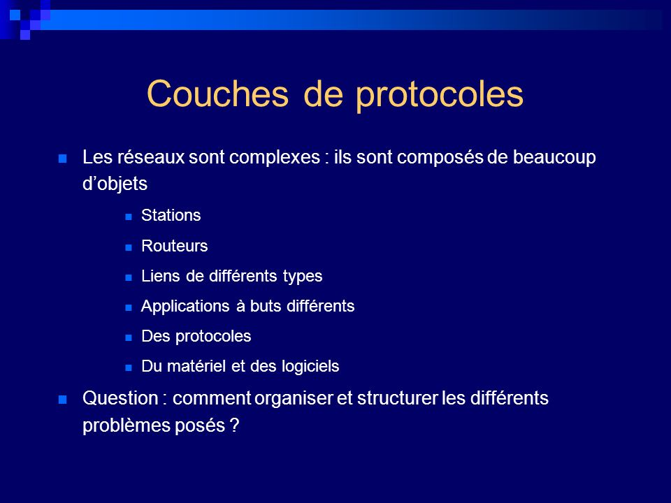 Couches de protocoles Les réseaux sont complexes : ils sont composés de beaucoup d'objets. Stations.