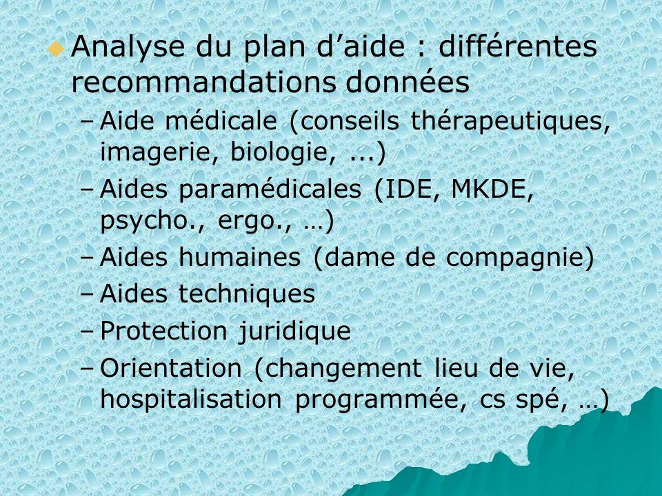 Analyse du plan d'aide : différentes recommandations données