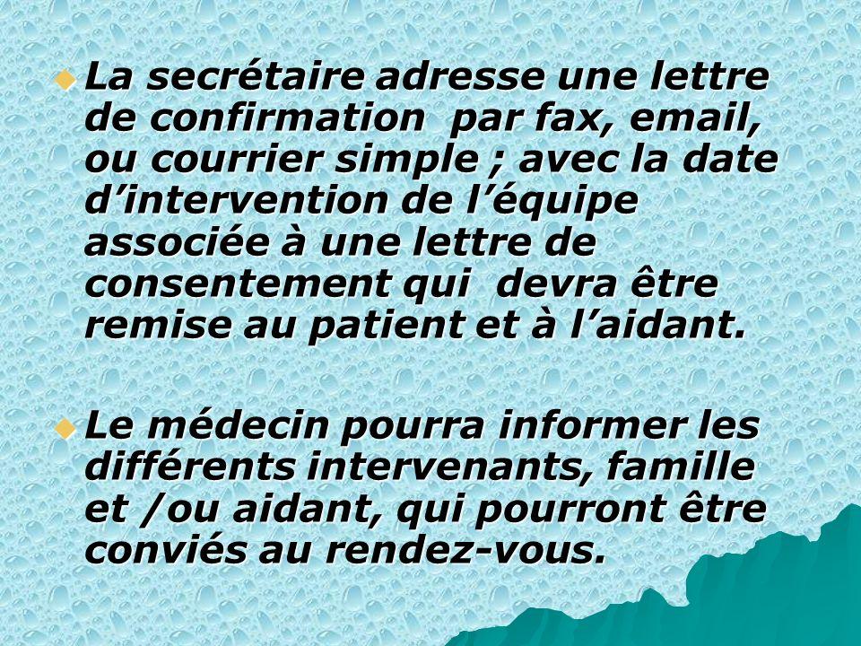 La secrétaire adresse une lettre de confirmation par fax, email, ou courrier simple ; avec la date d'intervention de l'équipe associée à une lettre de consentement qui devra être remise au patient et à l'aidant.