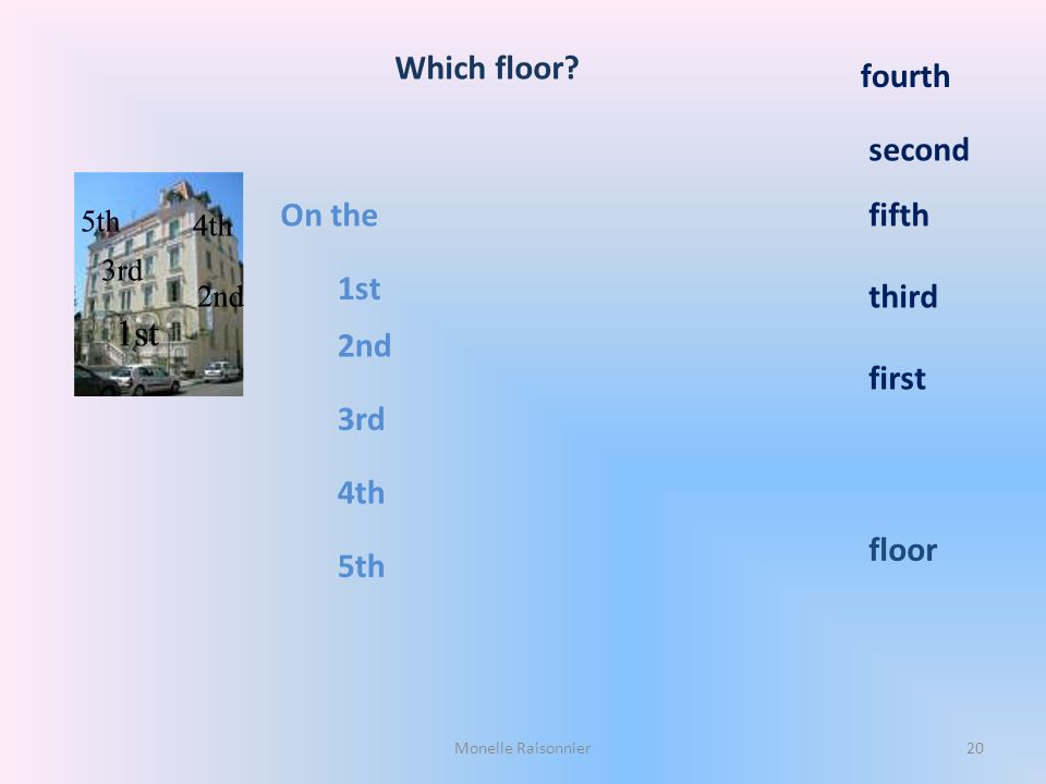Which floor fourth second On the fifth 1st third 2nd first 3rd 4th
