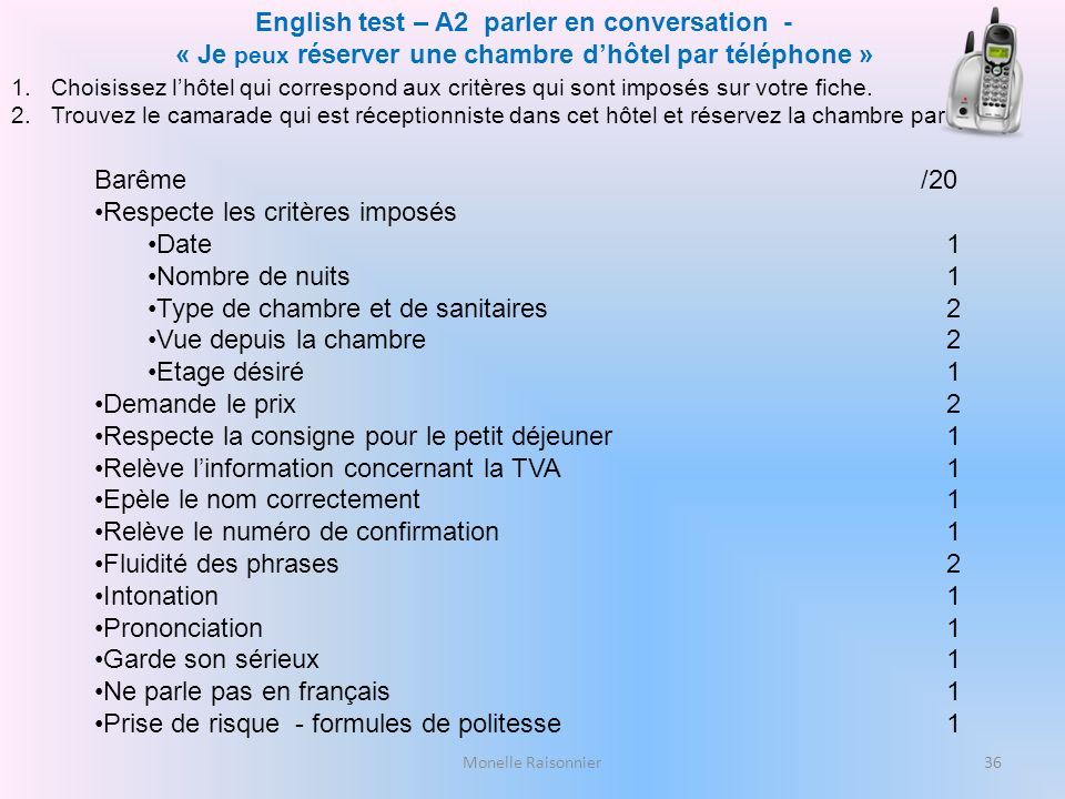 English test – A2 parler en conversation -