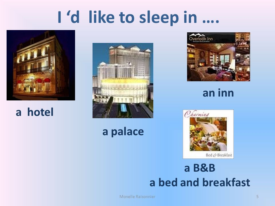 I 'd like to sleep in …. an inn a hotel a palace a B&B