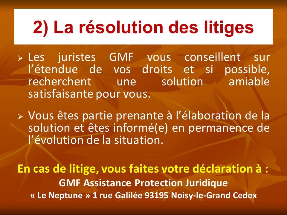 2) La résolution des litiges