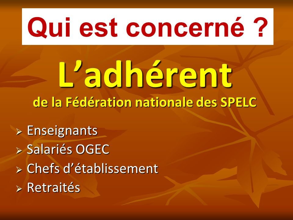 de la Fédération nationale des SPELC