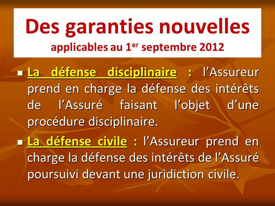 Des garanties nouvelles applicables au 1er septembre 2012