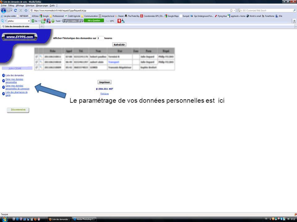 Le paramétrage de vos données personnelles est ici