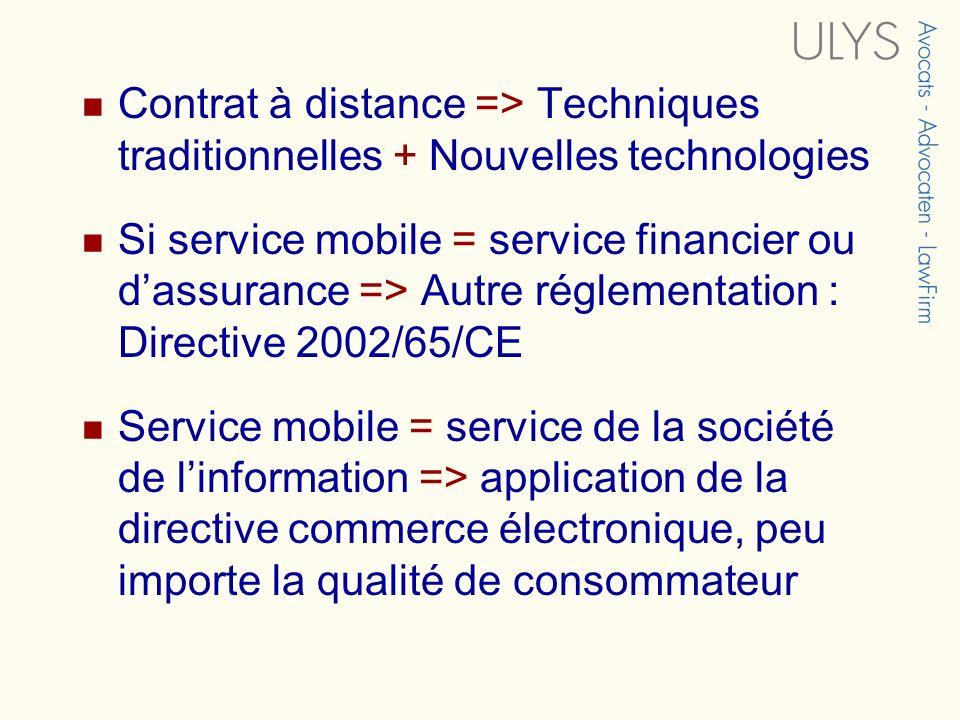 Contrat à distance => Techniques traditionnelles + Nouvelles technologies