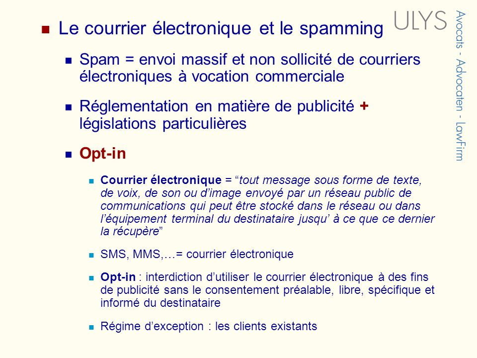 Le courrier électronique et le spamming