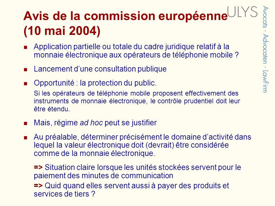 Avis de la commission européenne (10 mai 2004)