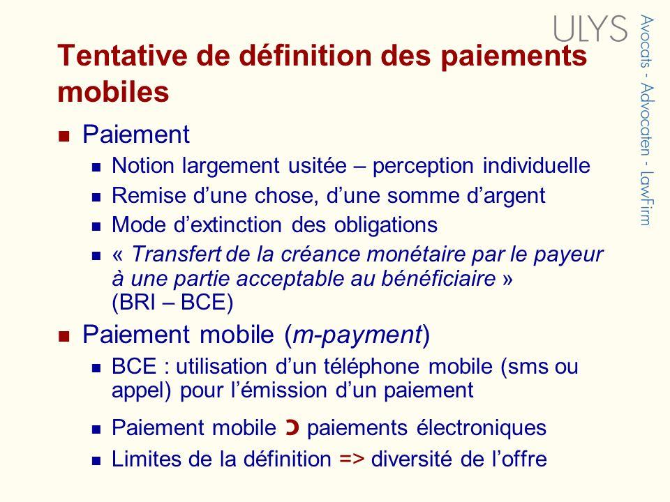 Tentative de définition des paiements mobiles