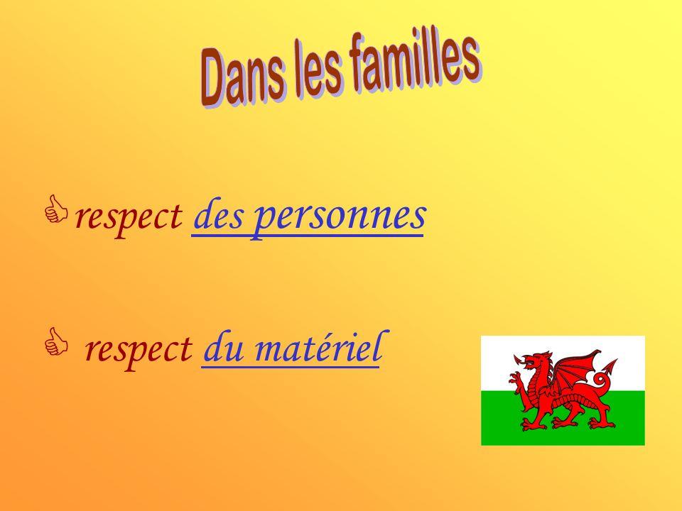 Dans les familles respect des personnes respect du matériel