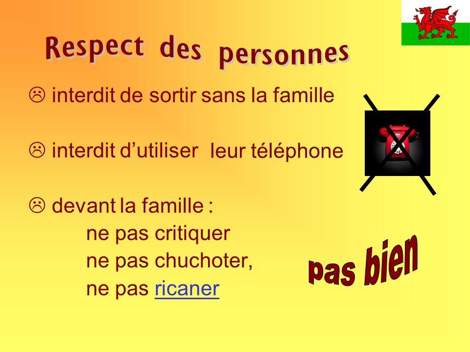 Respect des personnes pas bien interdit de sortir sans la famille