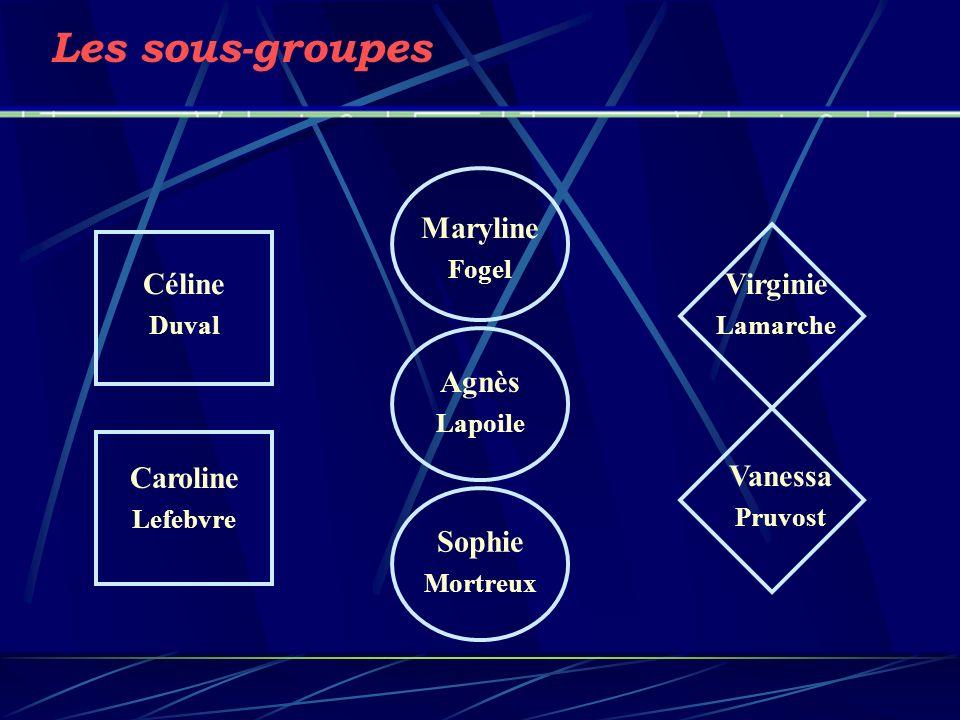 Les sous-groupes Maryline Céline Virginie Agnès Caroline Vanessa