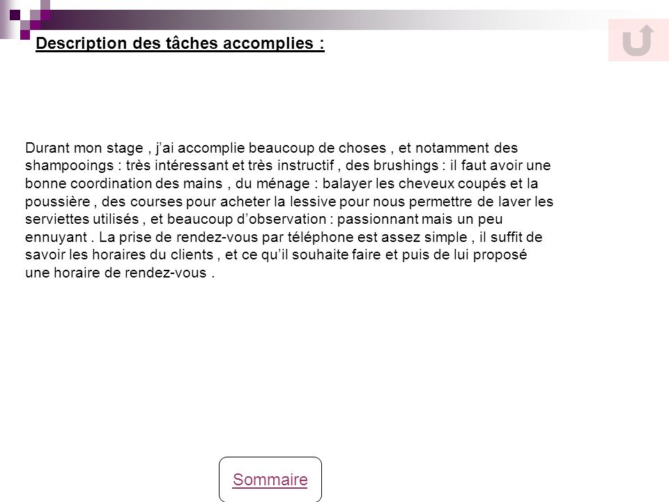 Description des tâches accomplies :