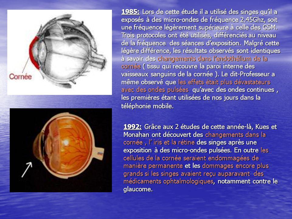 1985: Lors de cette étude il a utilisé des singes qu'il a exposés à des micro-ondes de fréquence 2.45Ghz, soit une fréquence légèrement supérieure à celle des GSM. Trois protocoles ont été utilisés, différenciés au niveau de la fréquence des séances d'exposition. Malgré cette légère différence, les résultats observés sont identiques à savoir des changements dans l'endothélium de la cornée ( tissu qui recouvre la paroi interne des vaisseaux sanguins de la cornée ). Le dit-Professeur a même observé que les effets était plus dévastateurs avec des ondes pulsées qu'avec des ondes continues , les premières étant utilisées de nos jours dans la téléphonie mobile.
