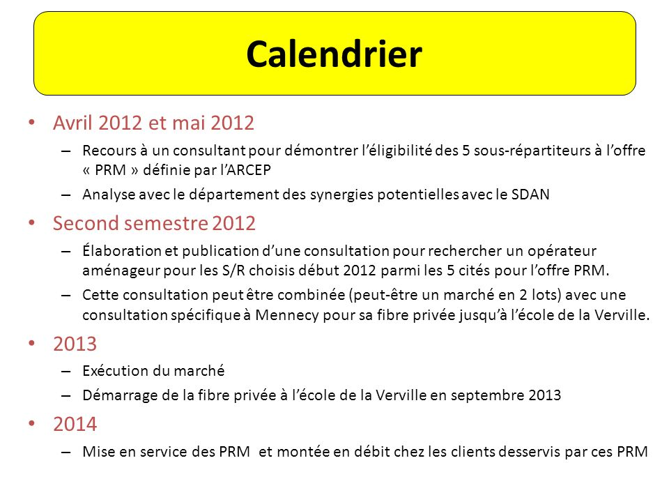 Calendrier Avril 2012 et mai 2012 Second semestre 2012 2013 2014