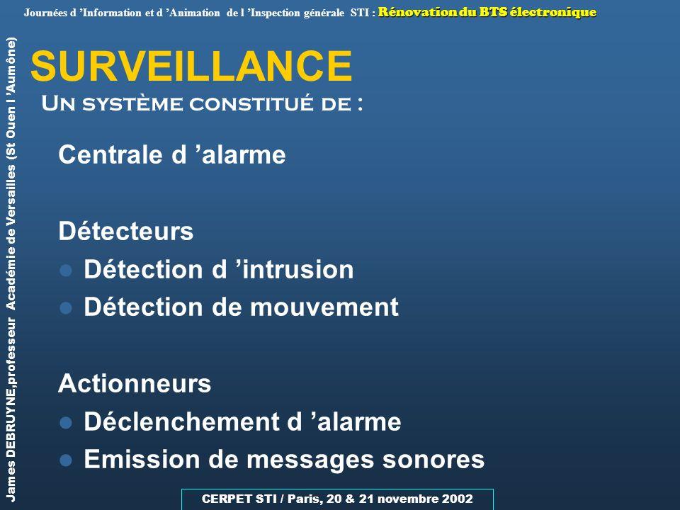SURVEILLANCE Centrale d 'alarme Détecteurs Détection d 'intrusion