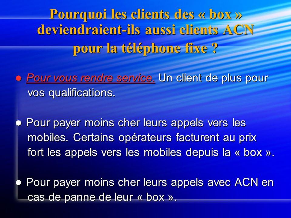 Pourquoi les clients des « box » deviendraient-ils aussi clients ACN pour la téléphone fixe