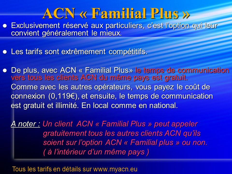 ACN « Familial Plus » Exclusivement réservé aux particuliers, c'est l'option qui leur convient généralement le mieux.