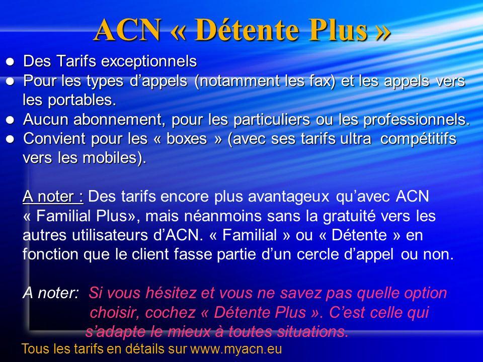 ACN « Détente Plus » Des Tarifs exceptionnels