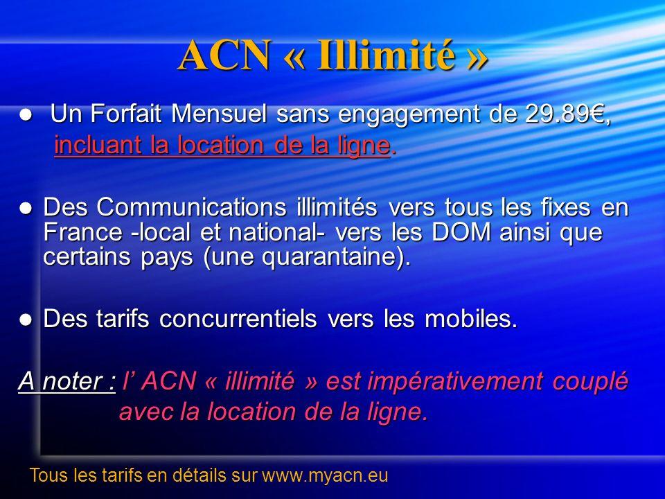ACN « Illimité » Un Forfait Mensuel sans engagement de 29.89€,