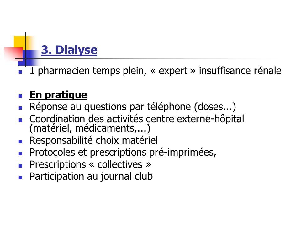 3. Dialyse 1 pharmacien temps plein, « expert » insuffisance rénale