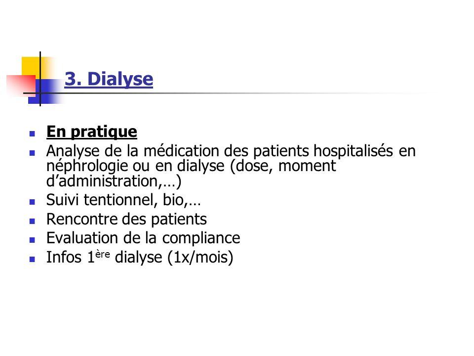 3. Dialyse En pratique. Analyse de la médication des patients hospitalisés en néphrologie ou en dialyse (dose, moment d'administration,…)