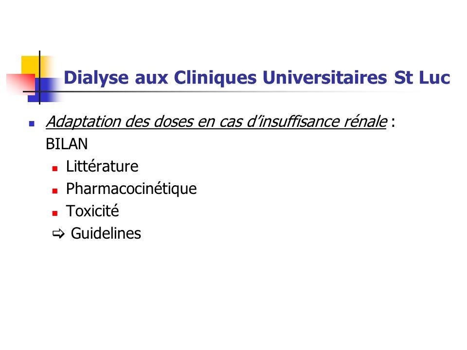Dialyse aux Cliniques Universitaires St Luc