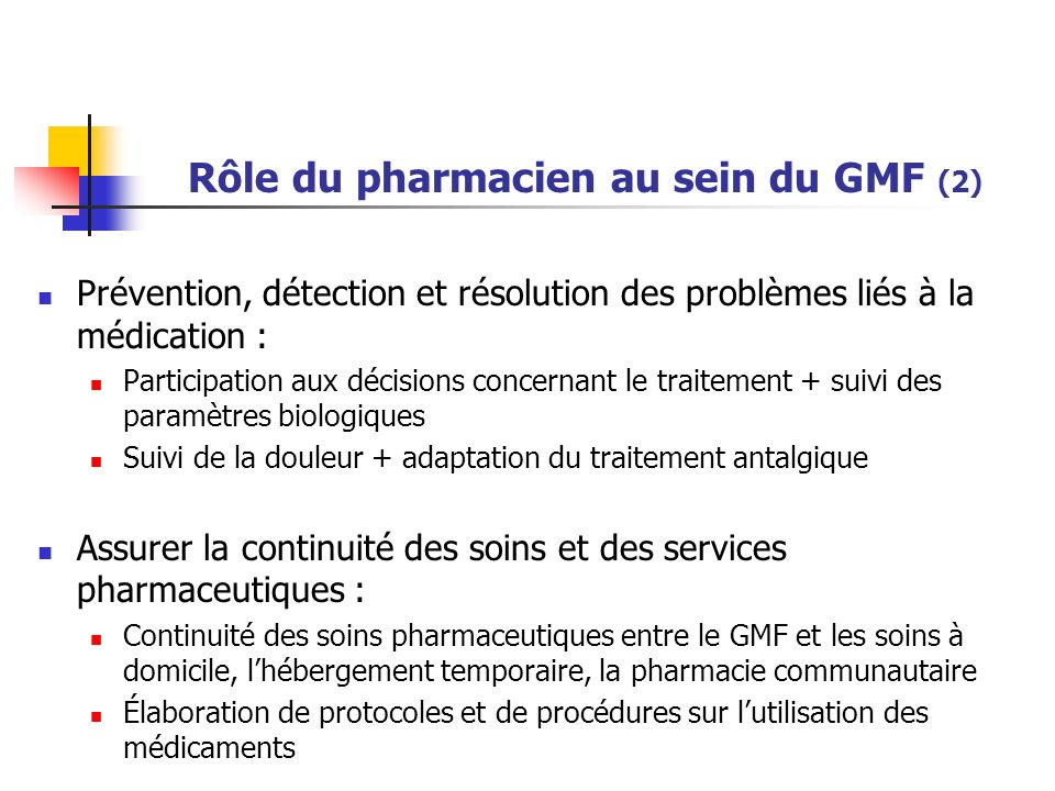 Rôle du pharmacien au sein du GMF (2)