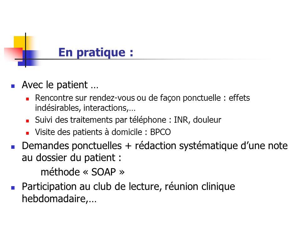 En pratique : Avec le patient …