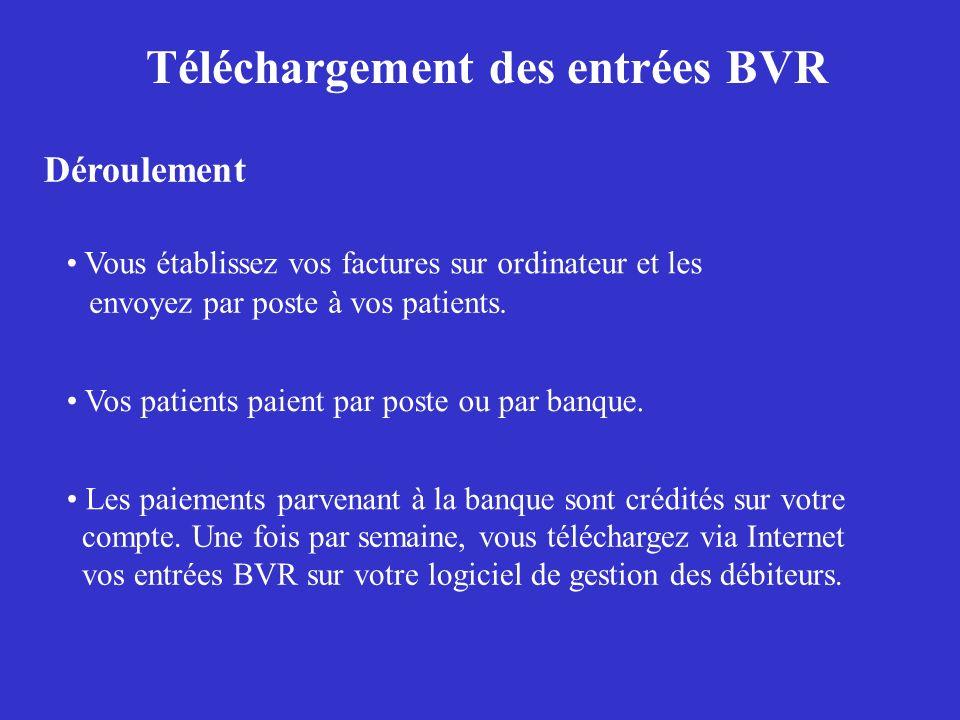 Téléchargement des entrées BVR