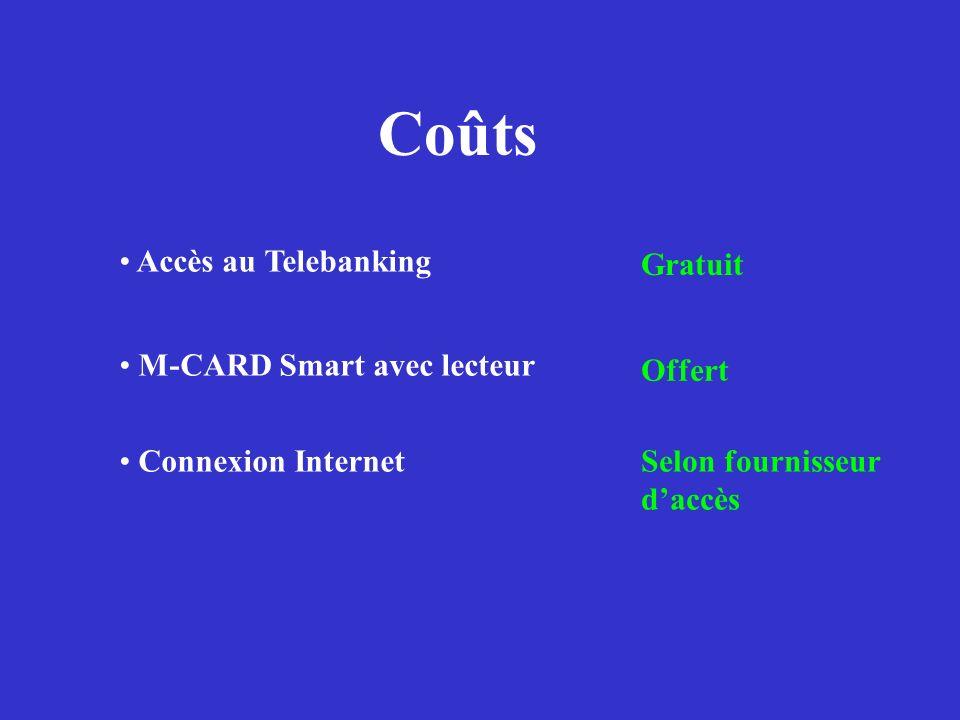 Coûts Accès au Telebanking Gratuit M-CARD Smart avec lecteur Offert