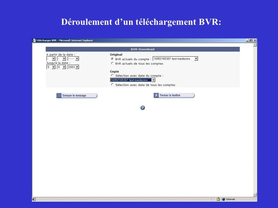 Déroulement d'un téléchargement BVR: