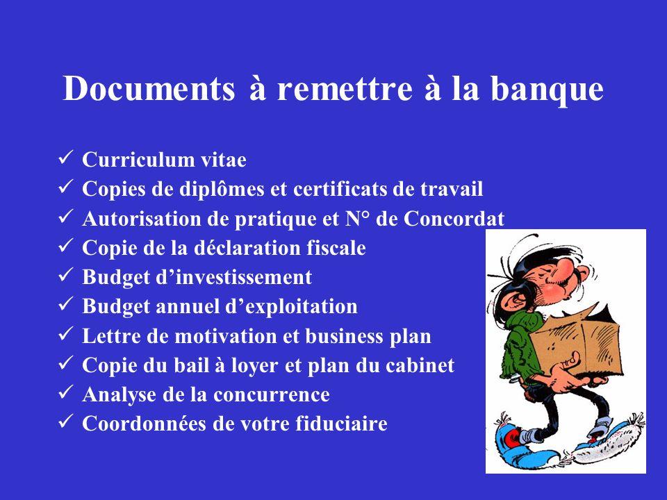 Documents à remettre à la banque