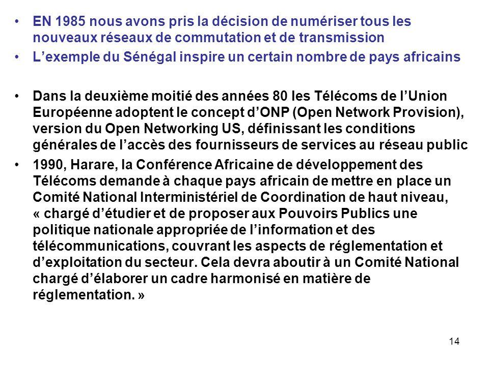 EN 1985 nous avons pris la décision de numériser tous les nouveaux réseaux de commutation et de transmission