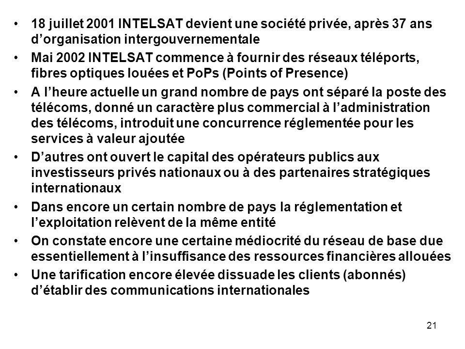 18 juillet 2001 INTELSAT devient une société privée, après 37 ans d'organisation intergouvernementale