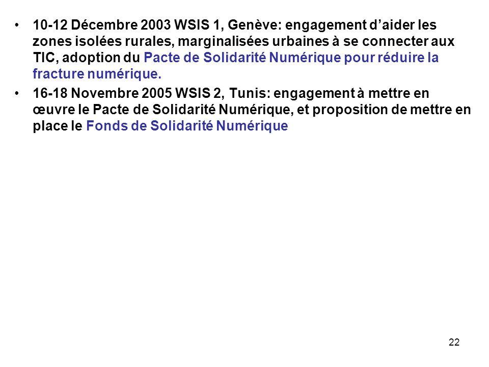 10-12 Décembre 2003 WSIS 1, Genève: engagement d'aider les zones isolées rurales, marginalisées urbaines à se connecter aux TIC, adoption du Pacte de Solidarité Numérique pour réduire la fracture numérique.