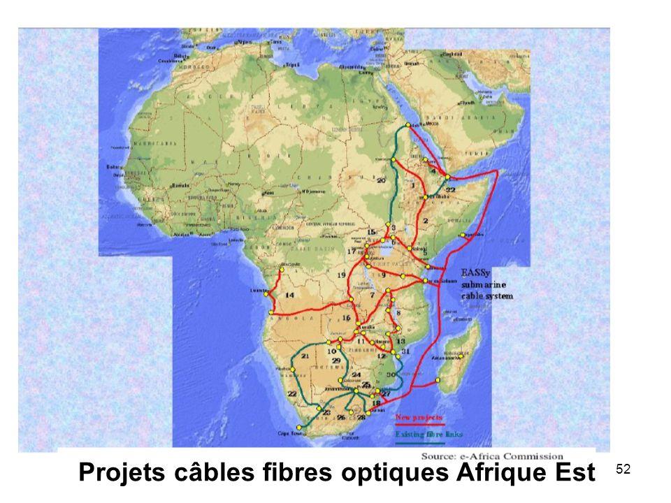Projets câbles fibres optiques Afrique Est