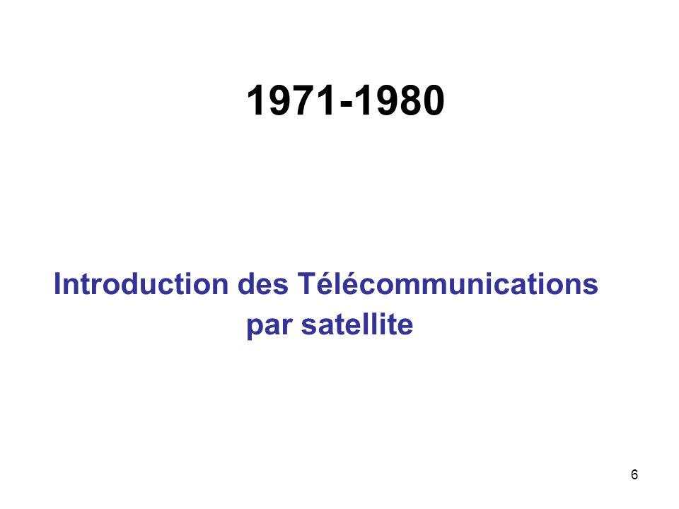 1971-1980 Introduction des Télécommunications par satellite