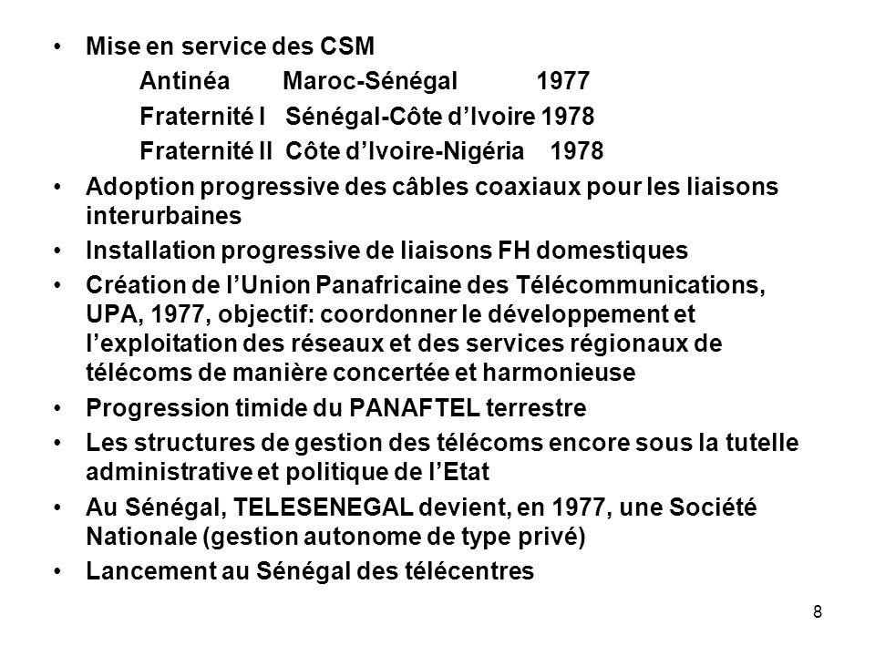 Mise en service des CSM Antinéa Maroc-Sénégal 1977. Fraternité I Sénégal-Côte d'Ivoire 1978.