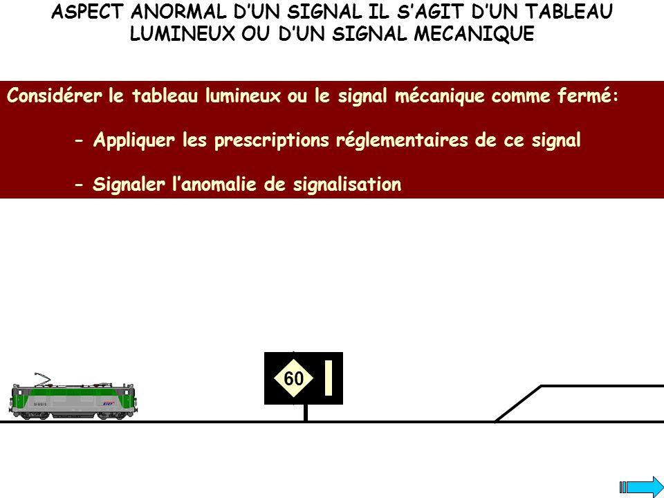 ASPECT ANORMAL D'UN SIGNAL IL S'AGIT D'UN TABLEAU LUMINEUX OU D'UN SIGNAL MECANIQUE