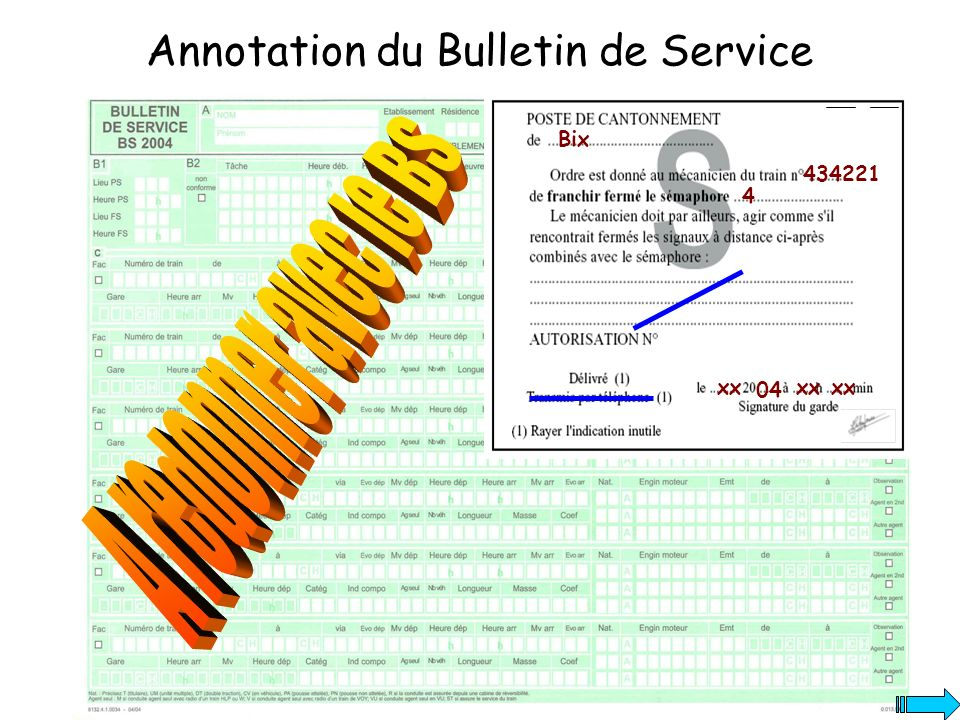 Annotation du Bulletin de Service