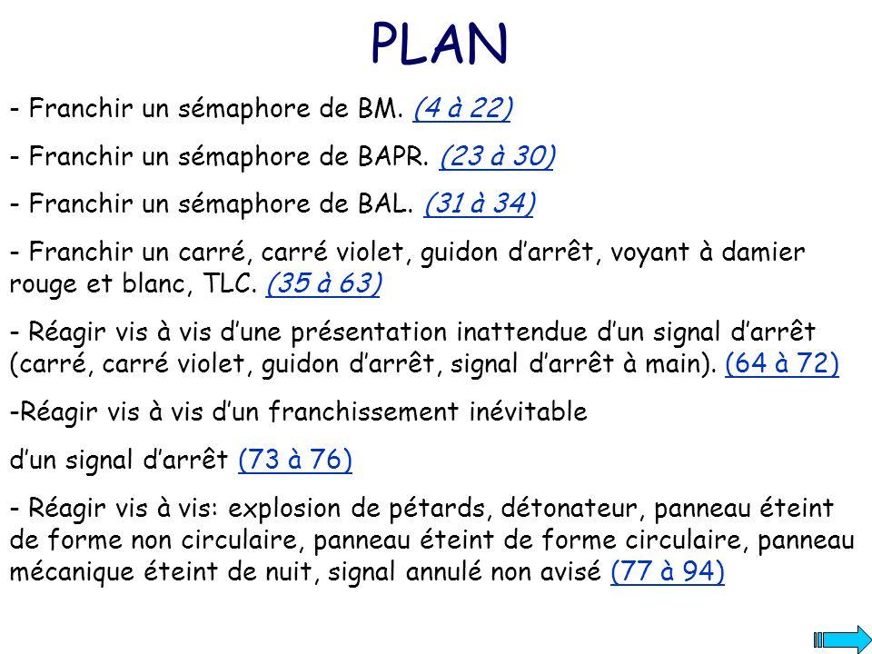 PLAN - Franchir un sémaphore de BM. (4 à 22)