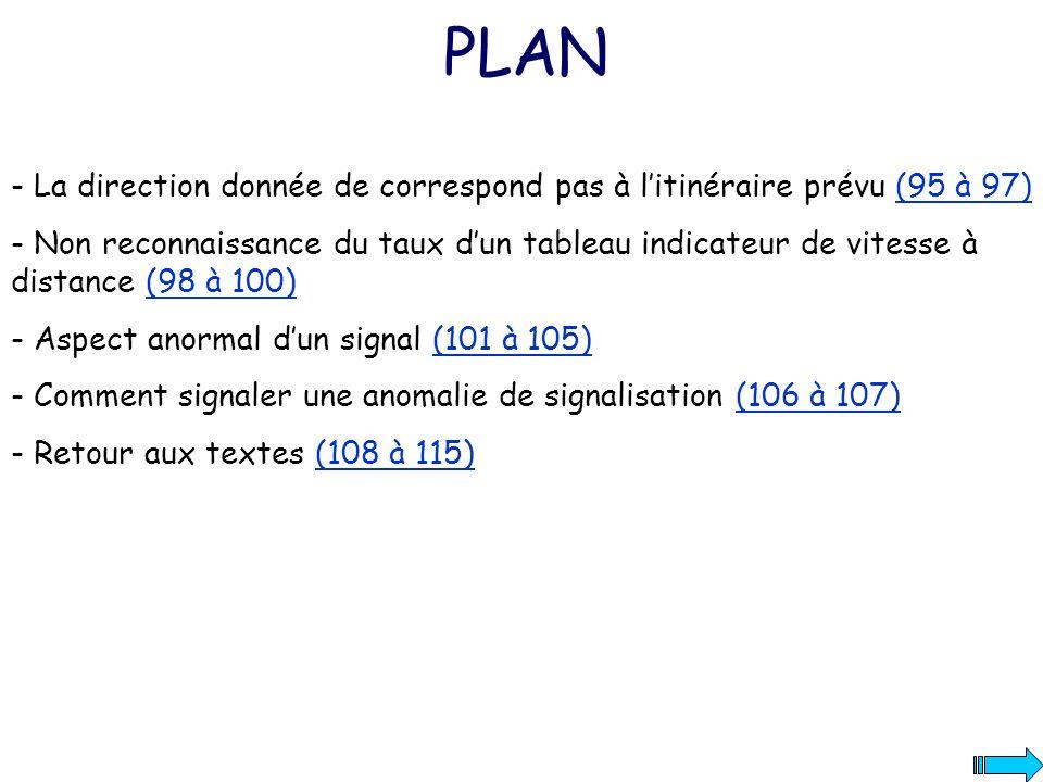 PLAN - La direction donnée de correspond pas à l'itinéraire prévu (95 à 97)